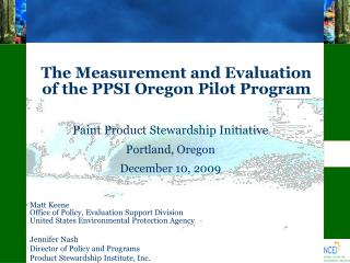 The Measurement and Evaluation of the PPSI Oregon Pilot Program