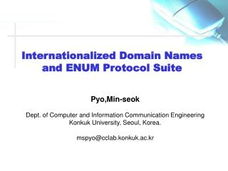 Internationalized Domain Names and ENUM Protocol Suite