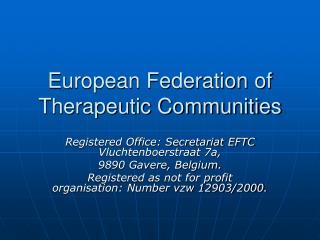 European Federation of Therapeutic Communities