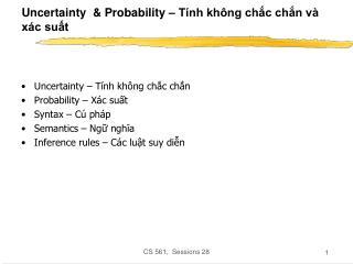Uncertainty  & Probability – Tính không chắc chắn và xác suất