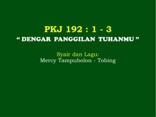 PKJ 192  : 1 - 3