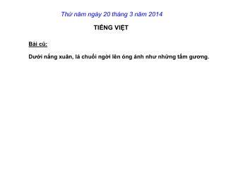 Thứ năm ngày 20 tháng 3 năm 2014