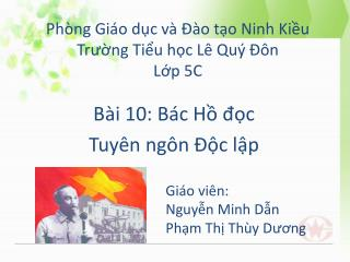 Phòng Giáo dục và Đào tạo Ninh Kiều Trường Tiểu học Lê Quý Đôn Lớp  5C