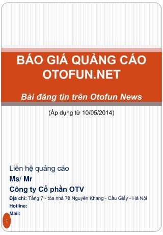 BÁO GIÁ QUẢNG CÁO OTOFUN.NET Bài đăng tin trên Otofun News (Áp dụng từ 10/05/2014)