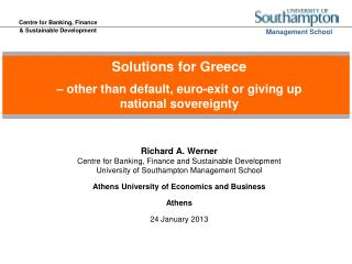 Solutions for Greece � other than default, euro-exit or giving up national sovereignty