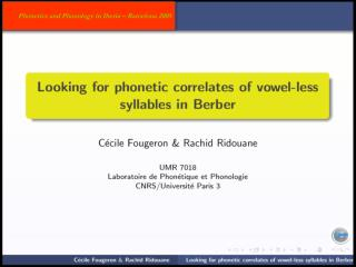 Phonetic correlates of  vowel-less syllables in Berber