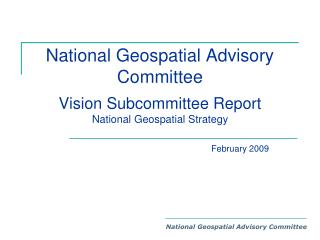 National Geospatial Advisory Committee Vision Subcommittee Report National Geospatial Strategy