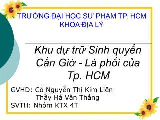 TRƯỜNG ĐẠI HỌC SƯ PHẠM TP. HCM KHOA ĐỊA LÝ