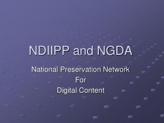 NDIIPP and NGDA
