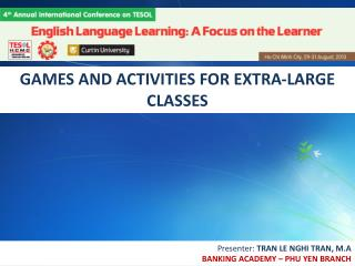 GAMES AND ACTIVITIES FOR EXTRA-LARGE CLASSES
