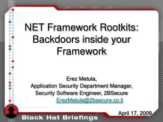 NET Framework Rootkits:  Backdoors inside your Framework