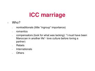 ICC marriage