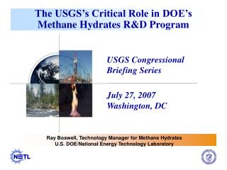 The USGS's Critical Role in DOE's Methane Hydrates R&D Program