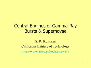 Central Engines of Gamma-Ray Bursts & Supernovae