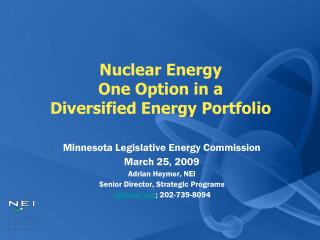 Nuclear Energy  One Option in a  Diversified Energy Portfolio