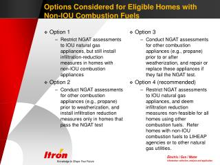 Options Considered for Eligible Homes with Non-IOU Combustion Fuels
