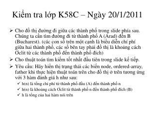 Kiểm tra lớp  K58C –  Ngày  20/1/2011