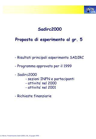 Sadirc2000 Proposta di esperimento al gr. 5