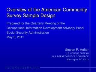 Overview of the American Community Survey Sample Design