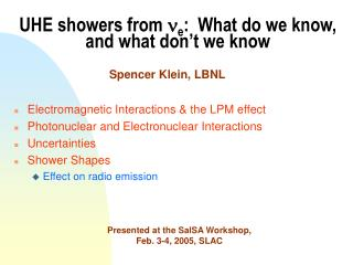 UHE showers from  n e :  What do we know, and what don't we know