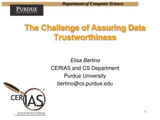 The Challenge of Assuring Data Trustworthiness