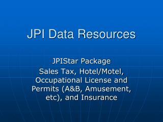 JPI Data Resources