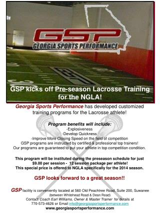 GSP kicks off Pre-season Lacrosse Training    for the NGLA!