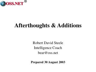 Afterthoughts & Additions