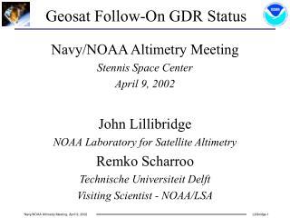Geosat Follow-On GDR Status