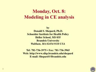 Monday, Oct. 8: Modeling in CE analysis