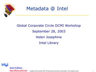 Metadata @ Intel