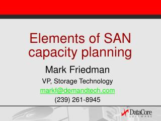Elements of SAN capacity planning