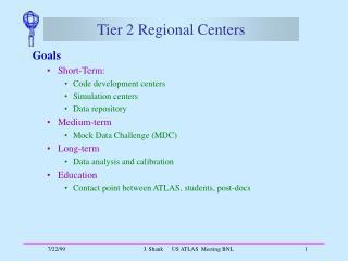 Tier 2 Regional Centers