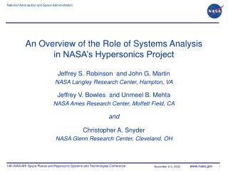 An Overview of the Role of Systems Analysis in NASA�s Hypersonics Project