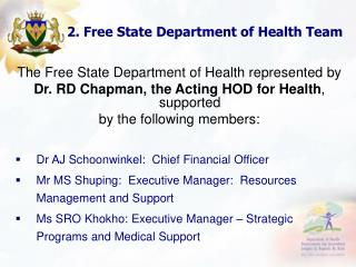 FREE STATE  DEPARTMENT OF HEALTH  Presentation on the Status of Conditional Grants    Public Hearings on Conditional Gra