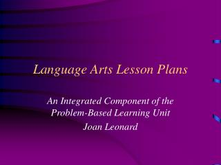 Language Arts Lesson Plans