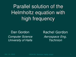 Parallel solution of the Helmholtz equation with  high frequency