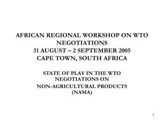 AFRICAN REGIONAL WORKSHOP ON WTO NEGOTIATIONS 31 AUGUST – 2 SEPTEMBER 2005 CAPE TOWN, SOUTH AFRICA