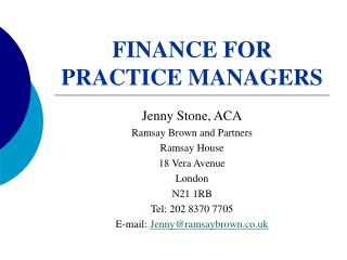 FINANCE FOR PRACTICE MANAGERS