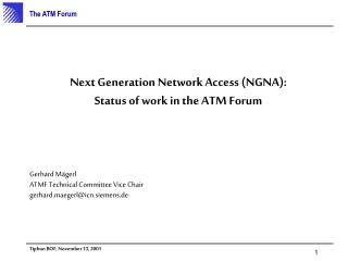 Next Generation Network Access (NGNA): Status of work in the ATM Forum