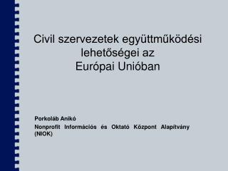 Civil szervezetek egy�ttm?k�d�si lehet?s�gei az Eur�pai Uni�ban