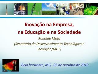 Inovação na Empresa,  na Educação e na Sociedade   Ronaldo Mota