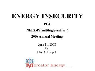 ENERGY INSECURITY