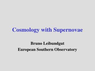 Cosmology with Supernovae
