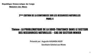 République Démocratique du Congo Ministère des Mines