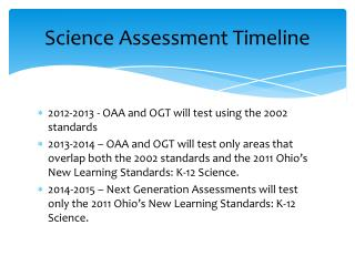Science Assessment Timeline