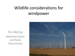 Wildlife considerations for  windpower