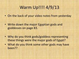 Warm Up!!!! 4/9/13