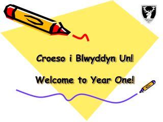 Croeso i Blwyddyn Un! Welcome to Year One!