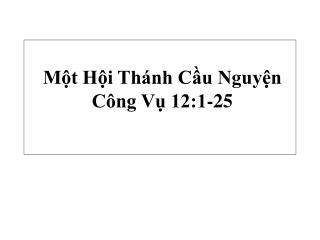 M?t H?i Th�nh C?u Nguy?n  C�ng V? 12:1-25